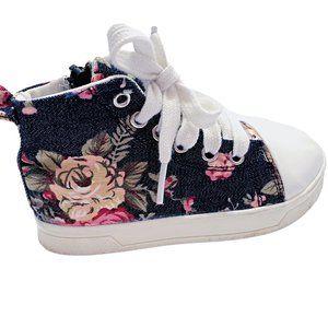 Floral Print Jean High Top Sneakers